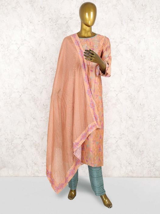 Orange Hue Printed Cotton Silk Punjabi Salwar Suit