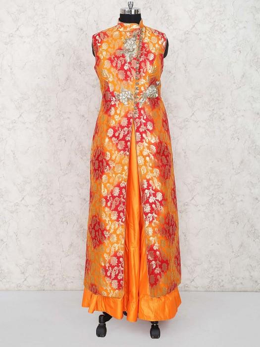Orange Hued Long Designer Wedding Lehenga Cum Suit