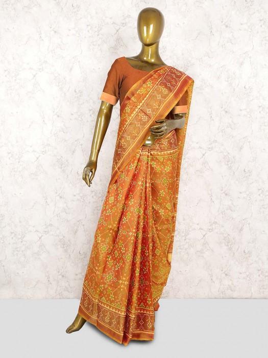 Orange Hued Lovely Patola Silk Saree