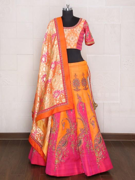 Orange Magenta Bridal Wear Designer Lehenga Choli
