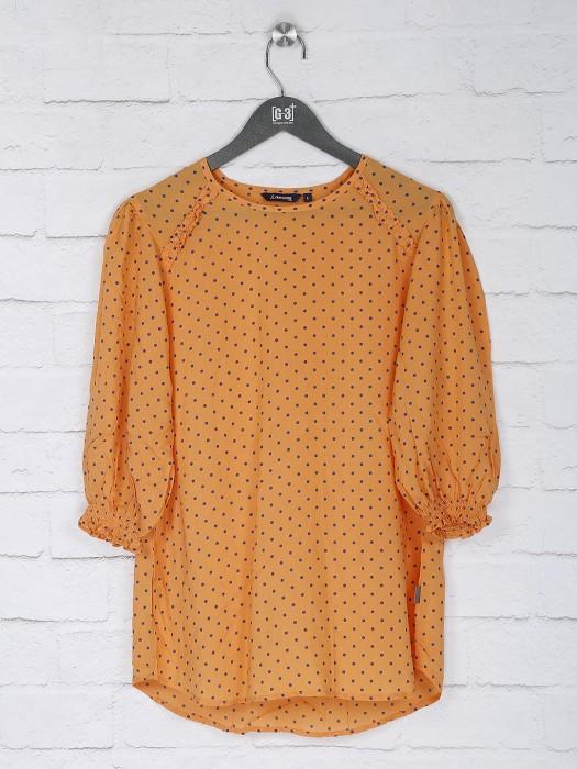 Orange Polka Dot Cotton Casual Top