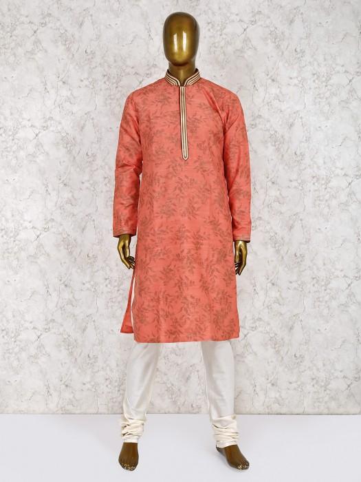 Orange Printed Cotton Silk Fabric Kurta Suit