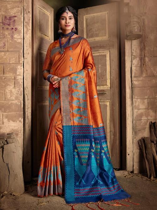 Orange Saree Design In Cotton Silk