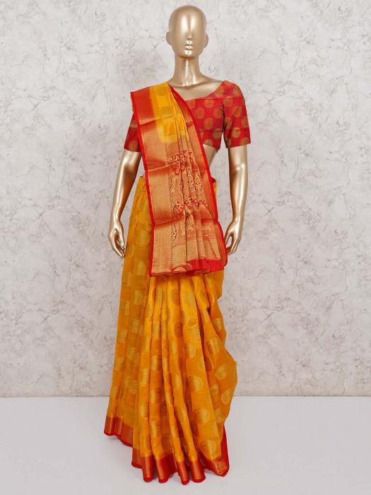 Orange Semi Cotton Silk Saree In Festive Occasion