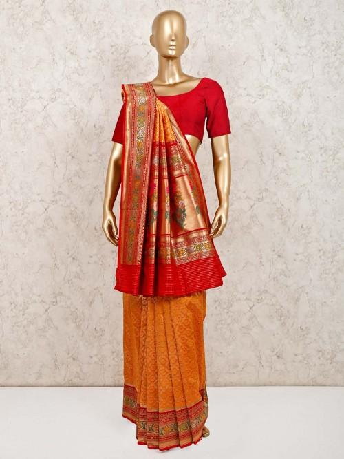 Orange Stunning Banarasi Silk Wedding Saree
