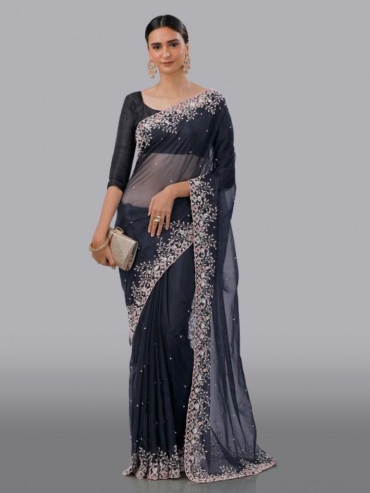 Organza Tissue Silk Reception Wear Saree In Dark Grey