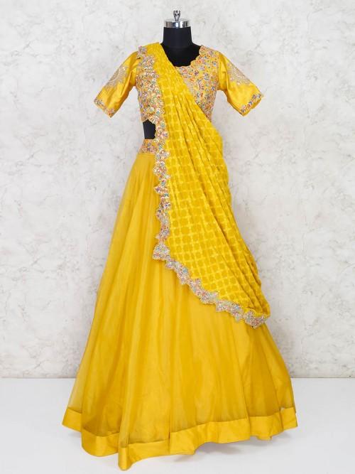 Organza Tissue Yellow Haldi Function Lehenga Choli