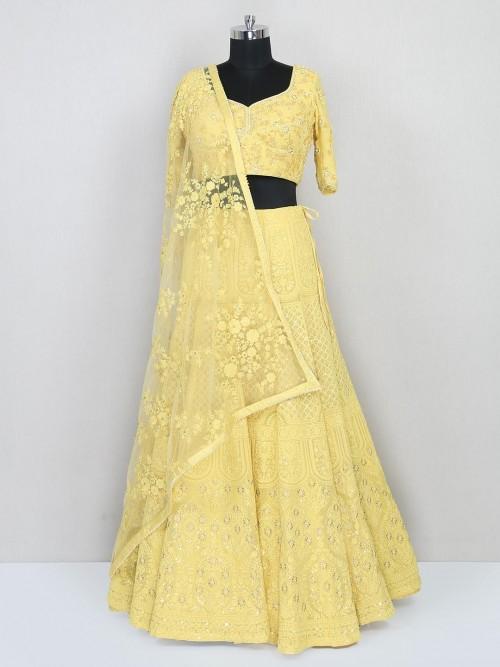 Organza Tissue Yellow Lehenga For Wedding