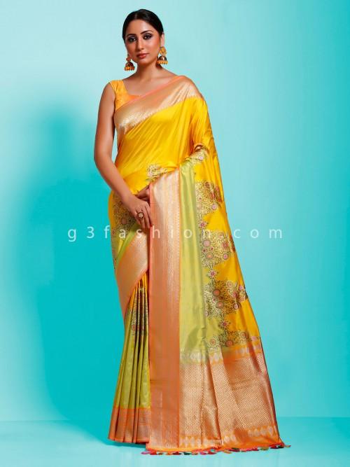 Aorable Banarasi Pure Munga Silk Gold Minakari Designer Saree