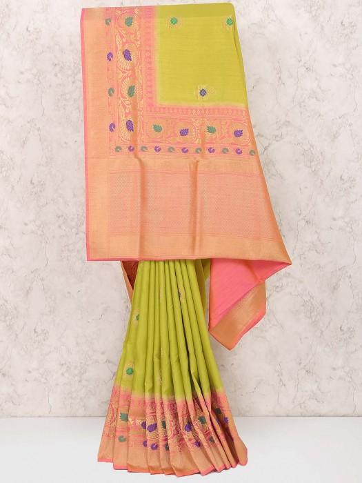 Parrot Green Color Semi Silk Festive Saree