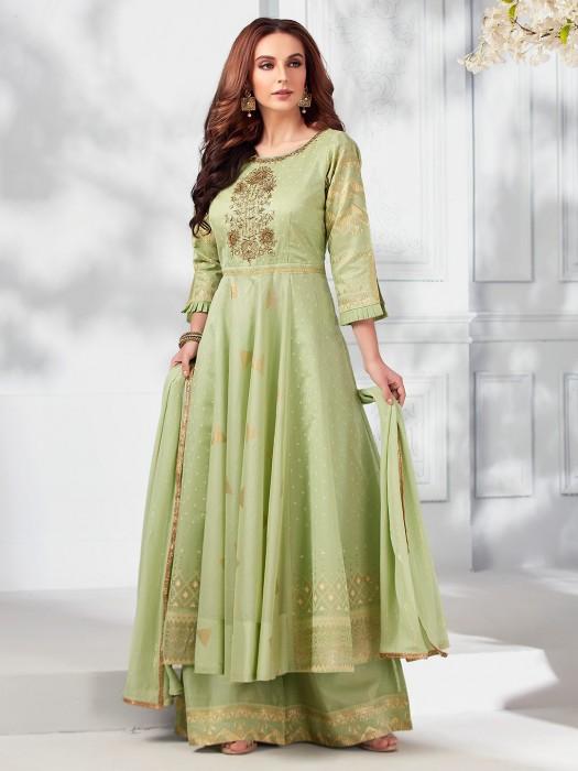 Parrot Green Cream Cotton Silk Pakistani Style Palazzo Suit