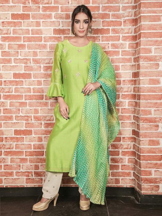 Parrot Green Pretty Cotton Silk Kurti