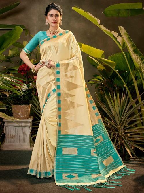 Party Wear Beige Silk Saree