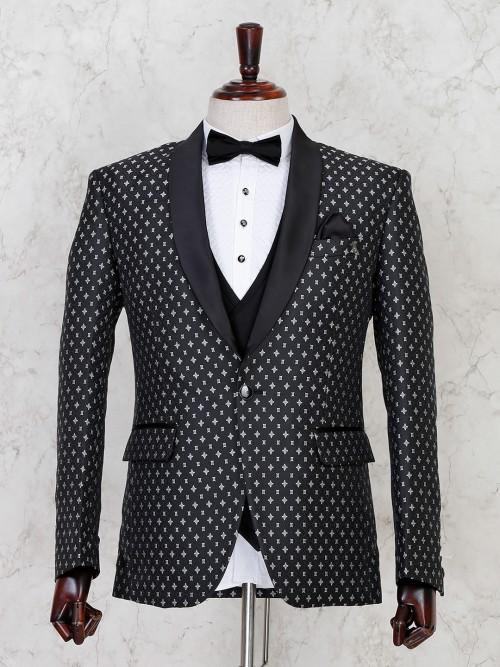 Party Wear Black Terry Rayon Tuxedo Coat Suit