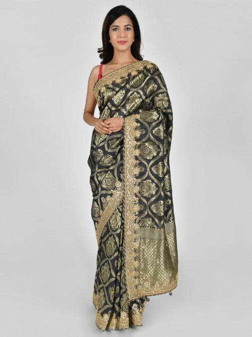 Party Wear Dark Grey Tussar Silk Saree