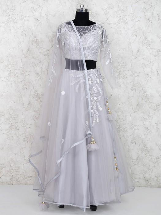 Party Wear Grey Hue Net Fabric Lehenga Choli