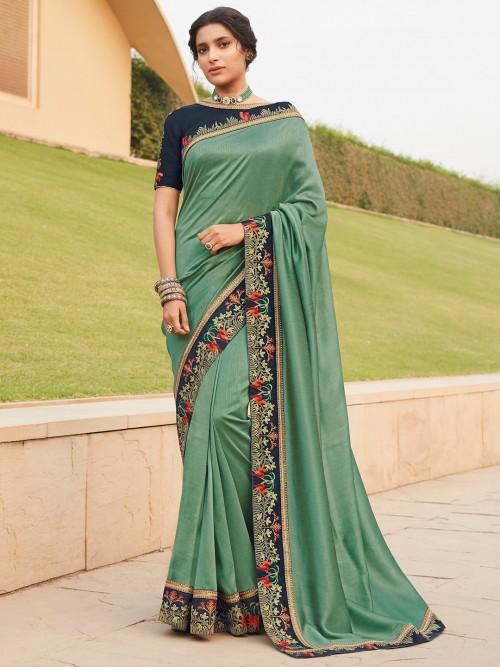 Party Wear Mint Green Satin Saree
