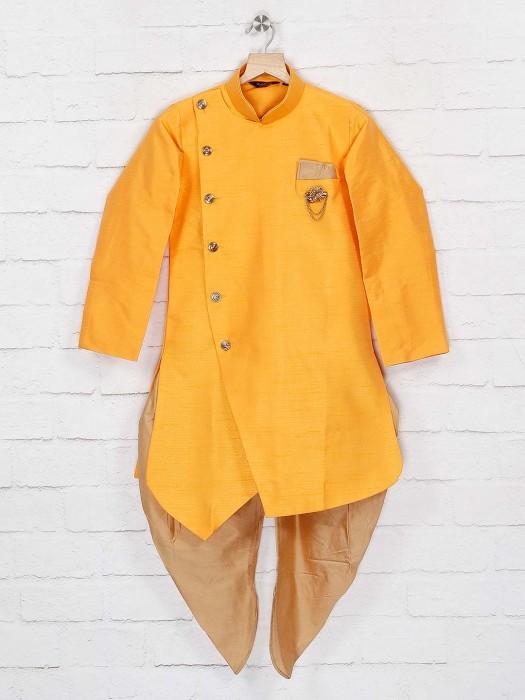 Party Wear Yellow Solid Raw Silk Indo Western
