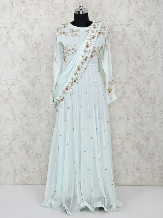 Pastel Aqua Georgette Floor Length Anarkali Salwar Suit