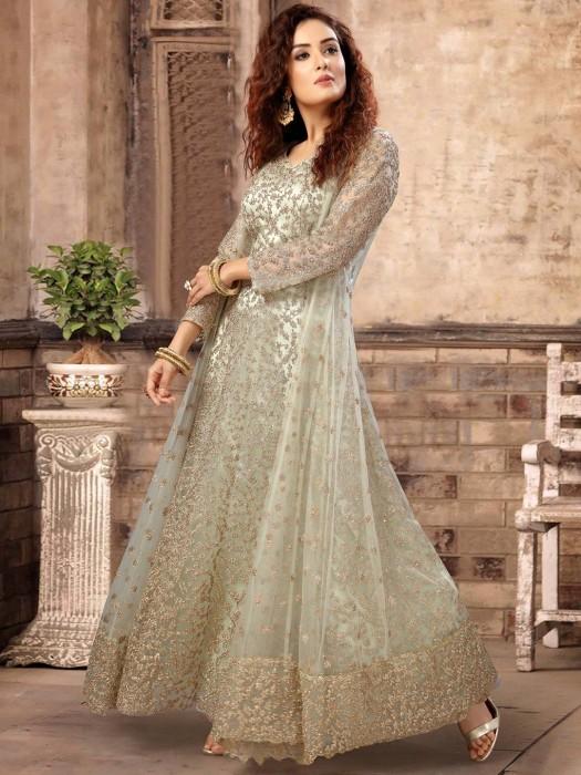 Pastel Green Net Anarkali Suit With Matching Shrug