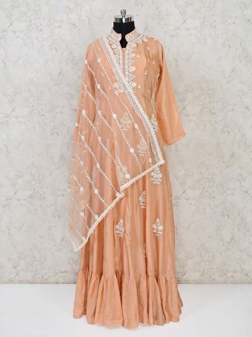 Peach Anarkali Floor Length Cotton Silk Suit