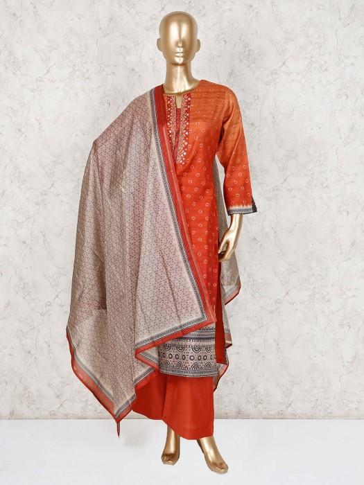 Peach And Orange Cotton Silk Printed Palazzo Suit