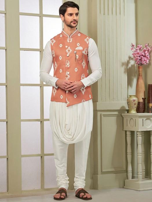 Peach And White Hue Cotton Silk Fabric Waistcoat Set