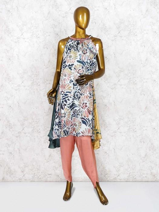Peach And White Printed Designer Salwar Suit In Cotton Silk