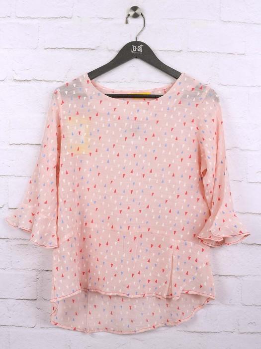 Peach Color Cotton Casual Top