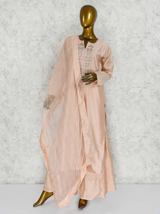 Peach Color Cotton Silk Punjabi Palazzo Suit