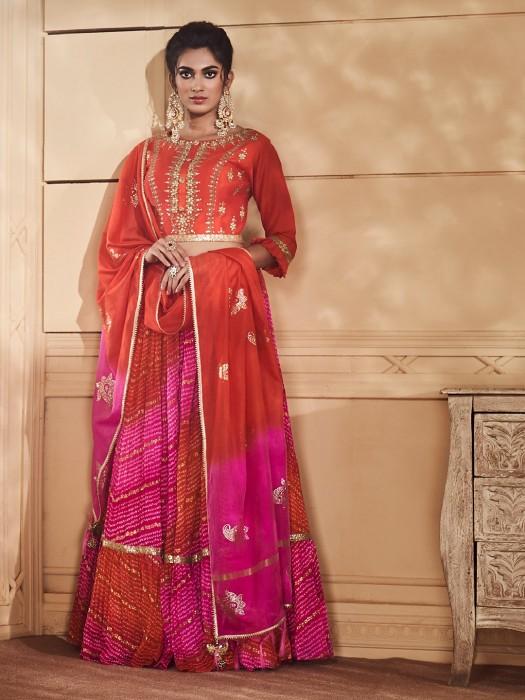 Peach Color Lehenga Choli In Cotton Silk Fabric