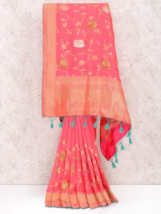Peach Color Muga Silk Fabric Saree