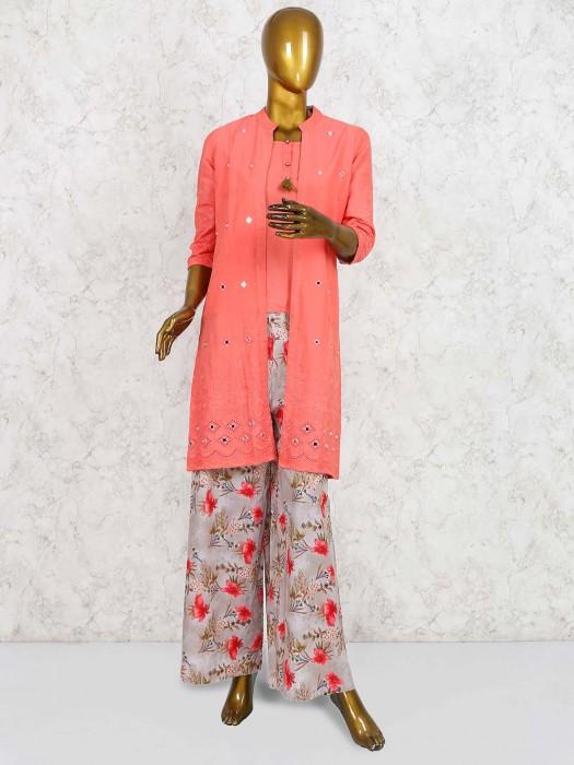 Peach Colored Punjabi Palazzo Suit