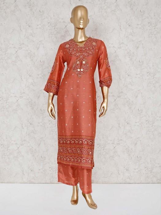 Peach Cotton Festive Wear Palazzo Suit