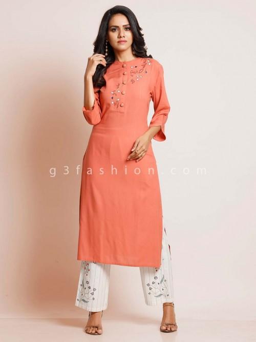 Peach Cotton Festive Wear Punjabi Style Palazzo Suit