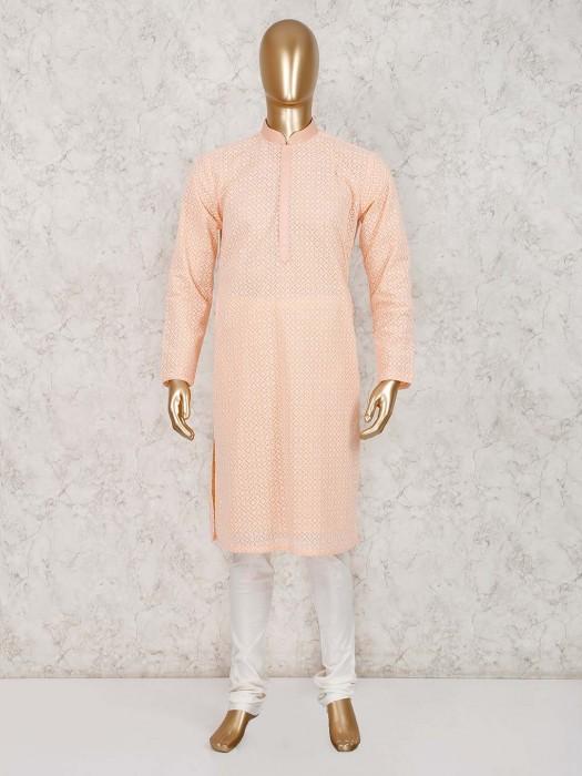 Peach Cotton Kurta With Churidar