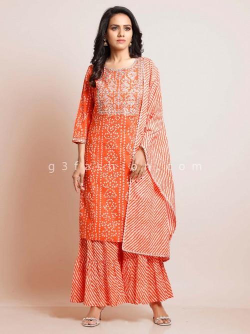Peach Cotton Punjabi Palazzo Suit For Festive