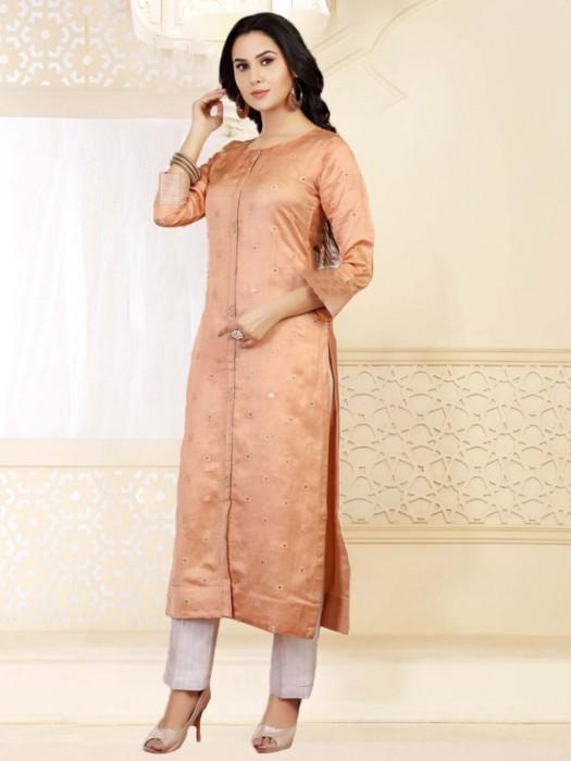 Peach Cotton Silk Festive Long Tunic
