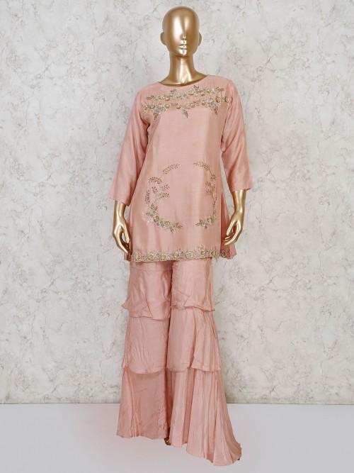 Peach Cotton Silk Festive Wear Sharara Suit
