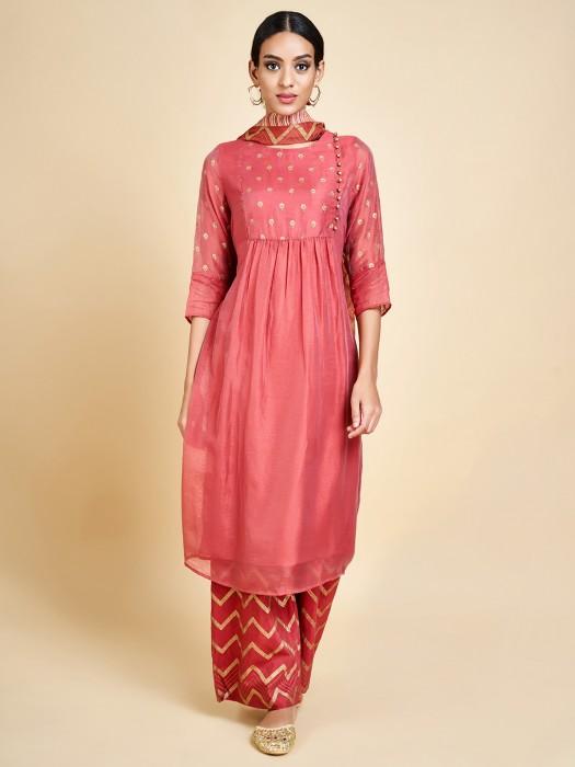 Peach Cotton Silk Latest Punjabi Palazzo Set