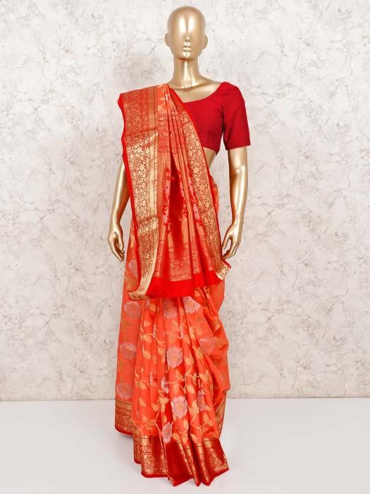 Peach Designer Banarasi Pure Silk Saree