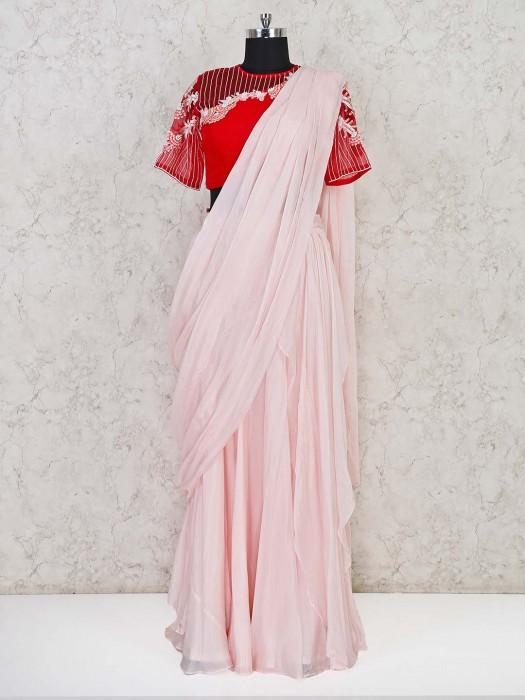Peach Designer Tissue Silk Ready To Wear Saree