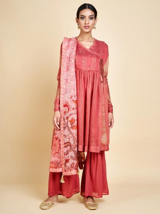Peach Festive Wear Designer Sharara Suit