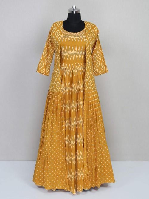 Mustard Yellow Floor Length Anarkali Salwar Suit For Festival