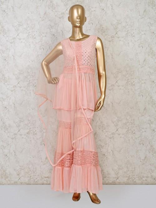 Peach Georgette Party Wear Punjabi Salwar Suit