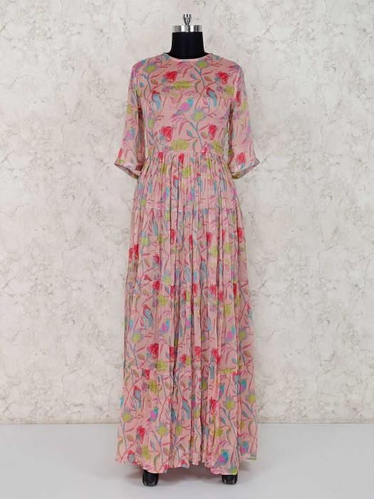Peach Georgette Printed Anarkali Suit