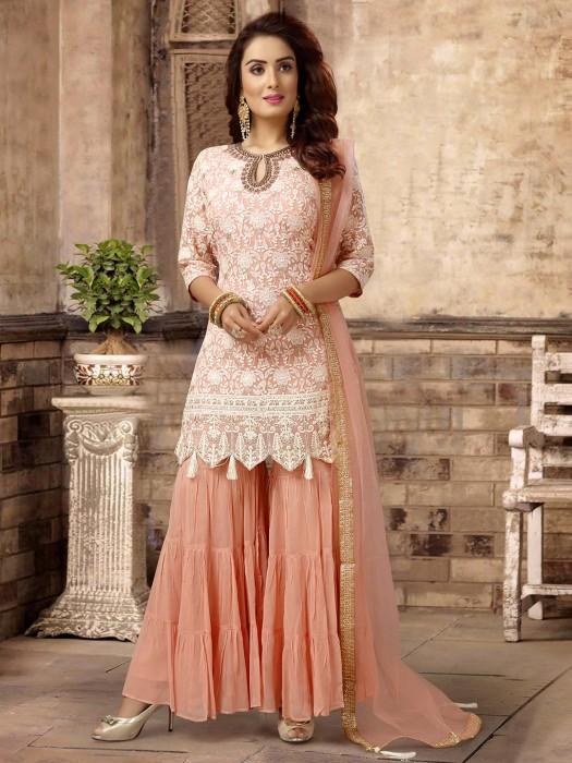 Peach Georgette Punjabi Gharara Suit