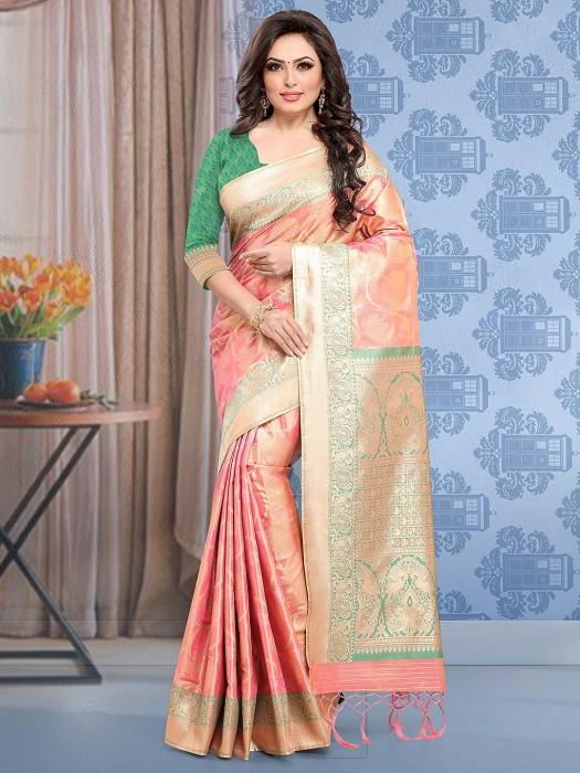 Peach Hue Banarasi Silk Wedding Saree