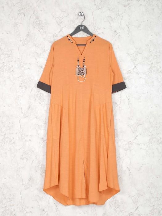Peach Hue Cotton Kurti