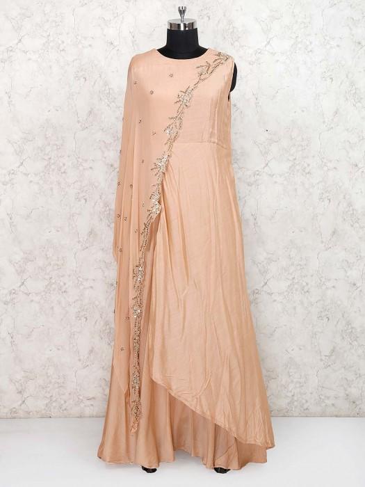 Peach Hue Cotton Silk Indo Western Salwar Suit